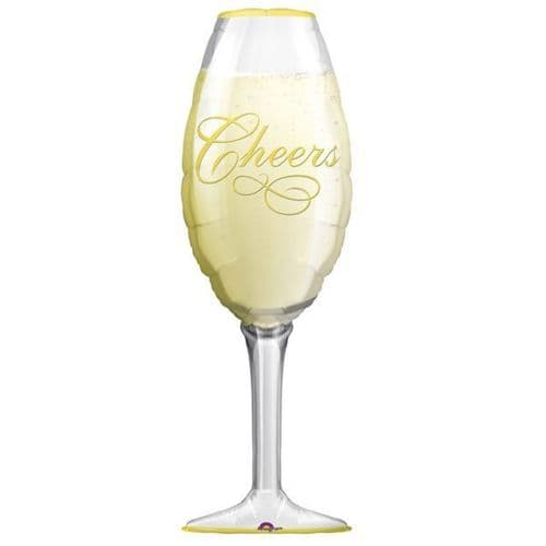 """Champagne Glass SuperShape Foil Balloons 14"""" x 38"""""""