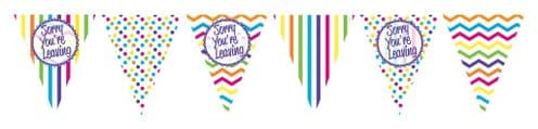 Chevron Stripe Sorry You're Leaving Paper Flag Bunting 12ft