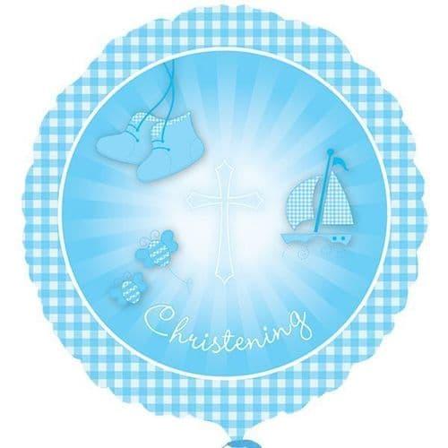 Christening Booties Blue Standard Foil Balloon