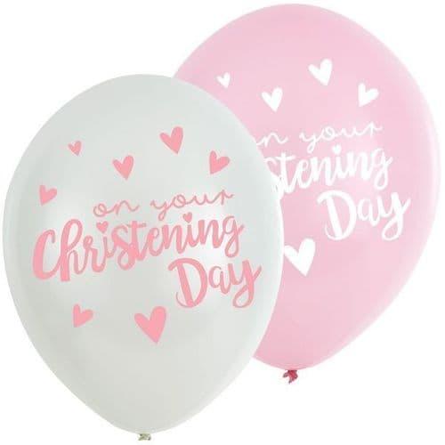 "Christening Church Blue Latex Balloons 11"" x 6"