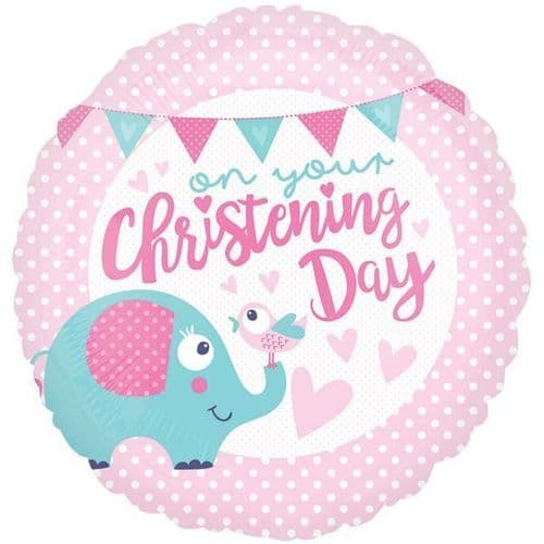 Christening Day Pink Standard Foil Balloon