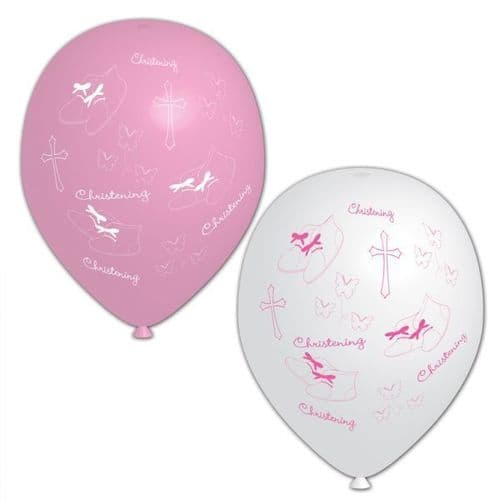 """Christening Pink (All Over Print) - Latex Balloons 11"""" packet of 6"""