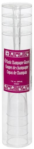 Clear Plastic Champagne 7oz Flute 4pc