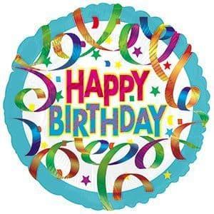 Colourful Streamers Birthday Foil Balloon