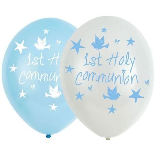 """Communion Church Blue Latex Balloons 11"""" packet of 6"""