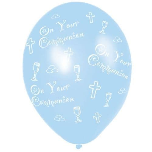 Communion Printed Blue Latex Balloons packet of 6