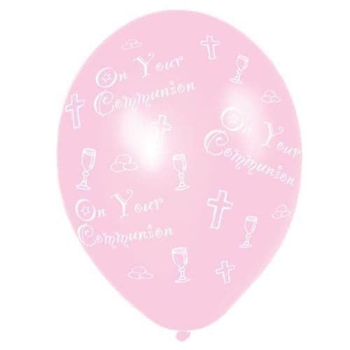 Communion Printed Pink Latex Balloons packet of 6