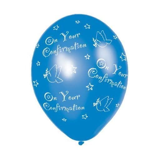 """Confirmation Blue Printed Latex Balloon 11"""" packet of 6"""