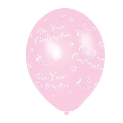 """Confirmation Pink Latex Balloons -  (All Over Print) 11"""" packet of 25"""