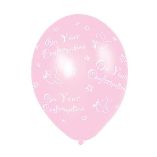 """Confirmation (Pink) Printed Latex Balloon 11"""" packet of 6"""