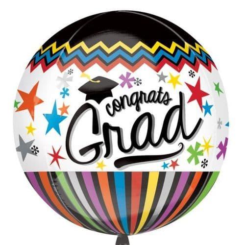 "Congrats Grad Orbz Foil Balloon 15"" x 16"""