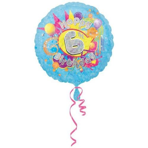 Cool Kids Holographic 6th Birthday Foil Balloon