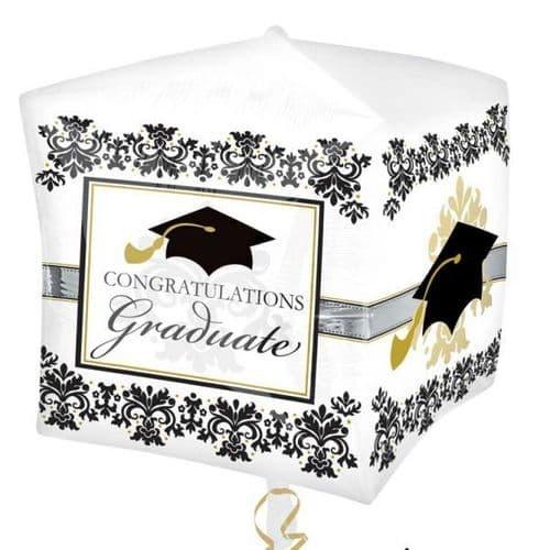 "Cubez Black & White Graduation Foil Balloon 15"" x 16"""