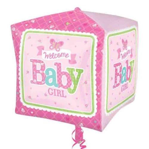 Cubez Welcome Baby Girl Butterfly Foil Balloon