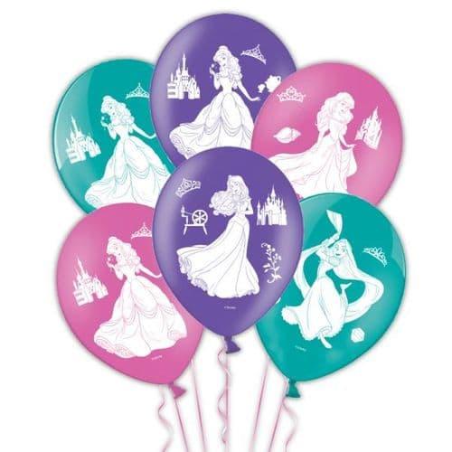 """Disney Princess 4 Sides Latex Balloons Packet of 6 x 11"""""""