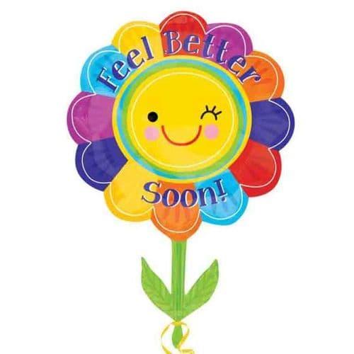 """Feel Better Flower SuperShape Foil Balloon 21"""" x 29"""""""
