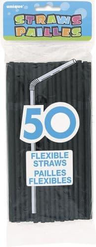 Flex Straws Black 50pc
