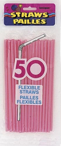 Flex Straws Hot Pink 50pc