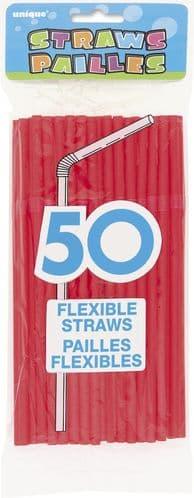 Flex Straws Ruby Red 50pc