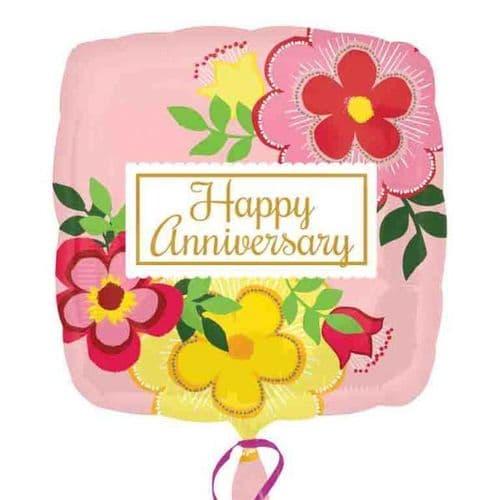 Flowery Anniversary  Standard Foil Balloon