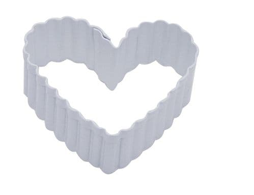Fluted Heart Poly-Resin Coated Cookie Cutter White