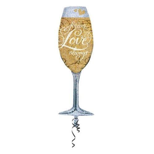 """Forever Love Champagne SuperShape Foil Balloon 14"""" x 38"""""""