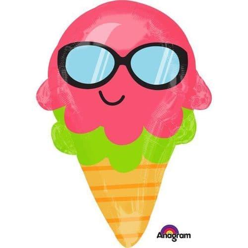 """Fun in the Sun Ice Cream Cone Junior Shape Foil Balloon 14"""" x 21"""""""