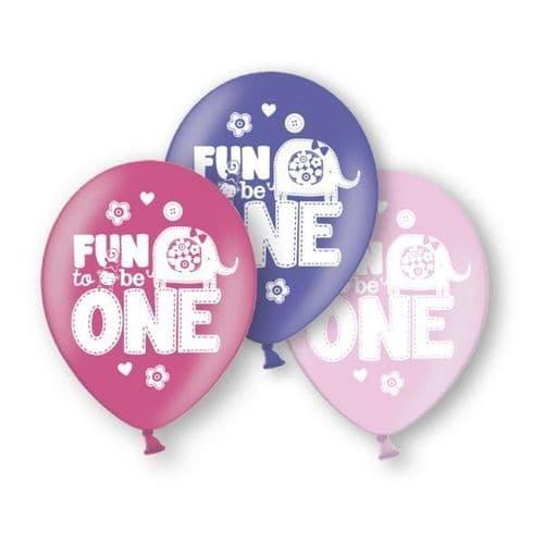 "Fun to be One Birthday Latex Balloons 6 x 11"""