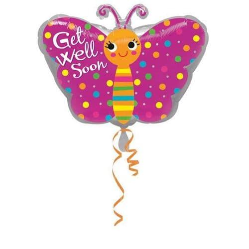 """Get Well Butterfly Junior Shape Foil Balloon 18"""" x 18"""""""