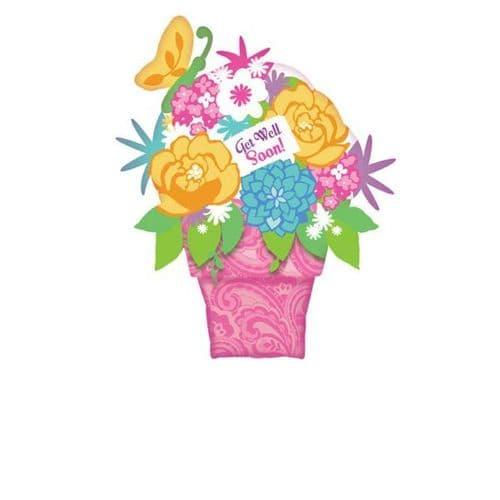 """Get Well Flower Pot SuperShape Foil Balloon 28"""" x 35"""""""
