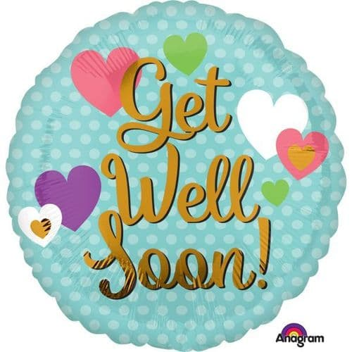 Get Well Soon Hearts Foil Balloon