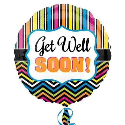 Get Well Stripe and Chevron Foil Balloon