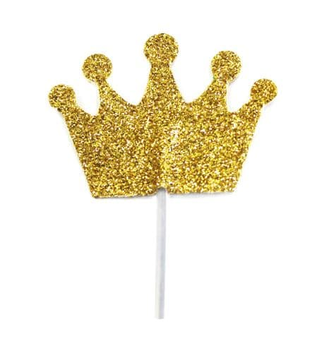 Glitter Princess Crown Cupcake Toppers Gold