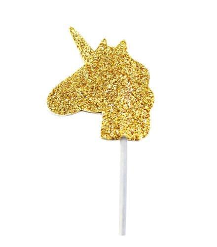 Glitter Unicorn Cupcake Toppers Gold