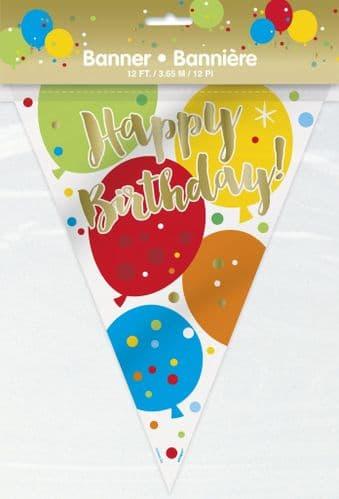 Glitzy Gold Happy Birthday Flag Banner-12Ft