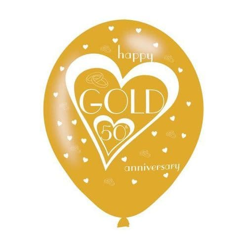 """Gold 50th Anniversary Latex Balloons 11"""" packet of 6"""