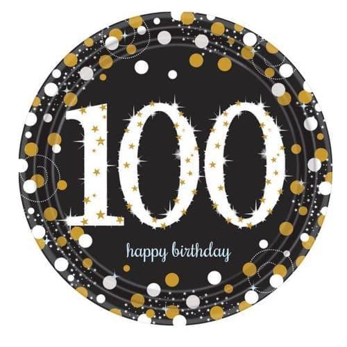 Gold Celebration 100th Prismatic Paper Plates 23cm  8 per pack.