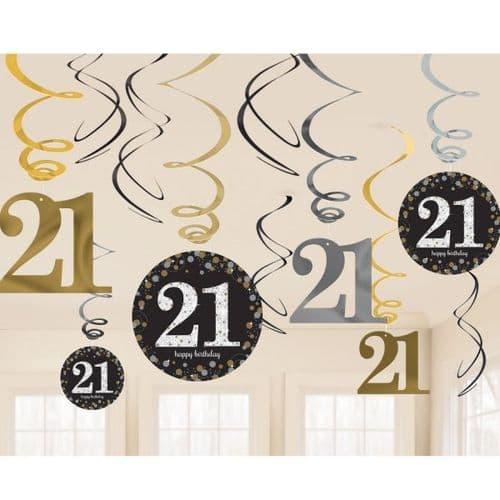 Gold Celebration 21st Swirl Decoration Value Pack 12 per pack.