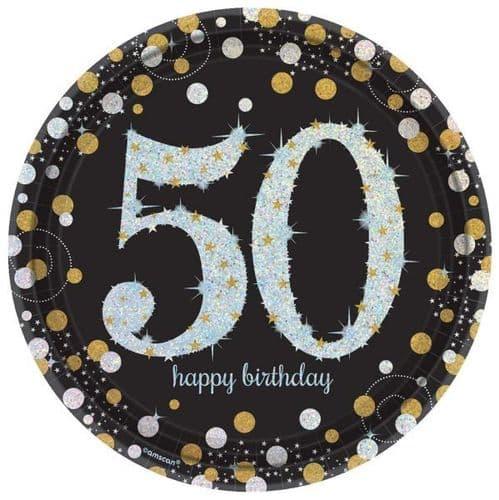 Gold Celebration 50th Prismatic Paper Plates 23cm 8 per pack.