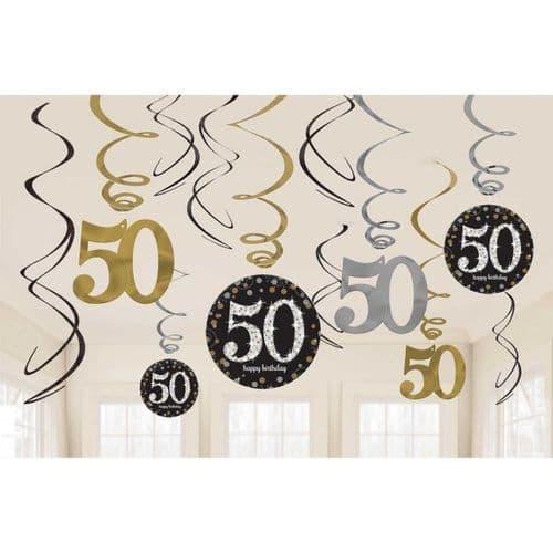 Gold Celebration 50th Swirl Decoration Value Pack 12 per pack.