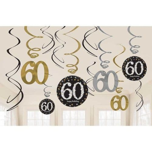 Gold Celebration 60th Swirl Decoration Value Pack 12 per pack.