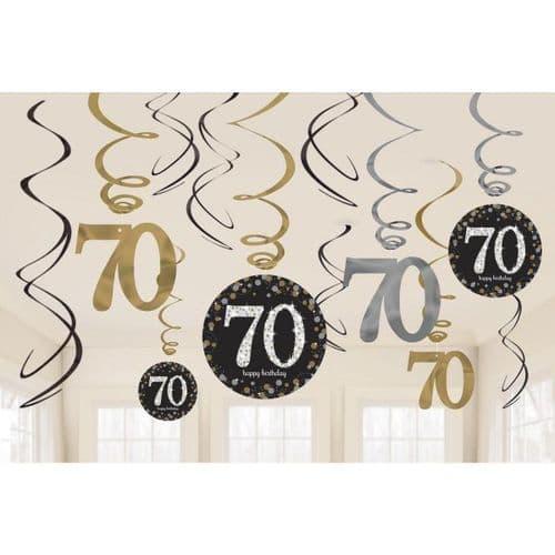Gold Celebration 70th Swirl Decorations 12 per pack.