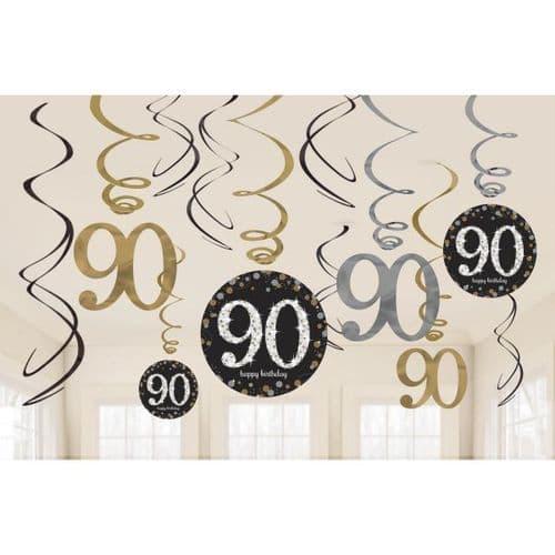 Gold Celebration 90th Swirl Decorations 12 per pack.