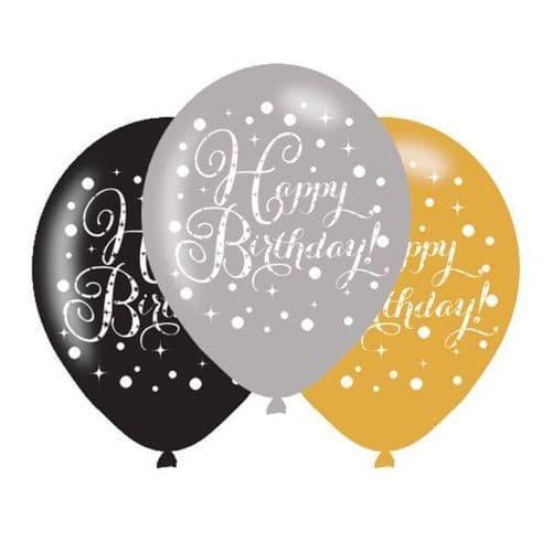 "Gold Celebration Happy Birthday Latex Balloons 11"" x  6 per pack."