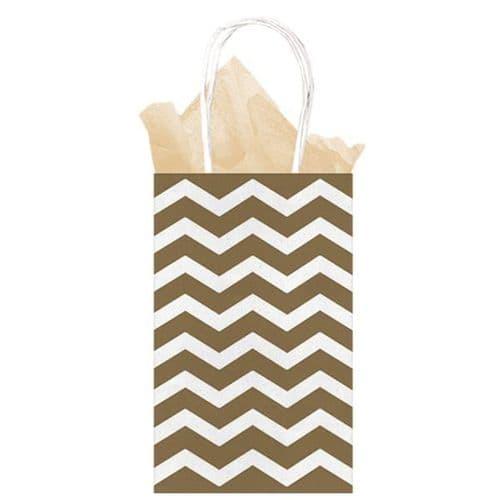 Gold Chevron Paper Gift Bags 21cm x 13cm x 9cm