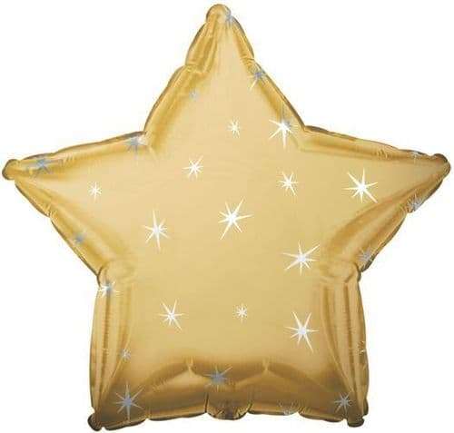 Gold Sparkle Star Shaped Foil Balloon