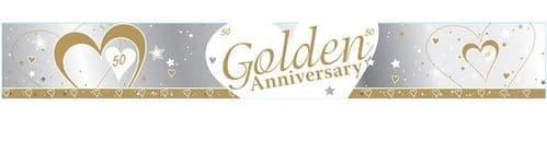 Golden 50th Anniversary Foil Banner 9ft