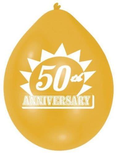 Golden 50th Anniversary Latex Balloons