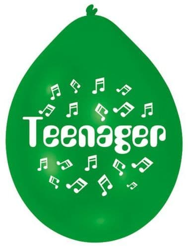 Green Teenager Latex Balloons 10 per pack.