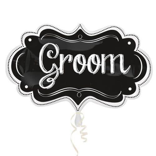 "Groom Chalkboard Marquee SuperShape Foil Balloon 11"" x 34"""